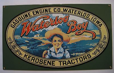 Vintage John Deere Waterloo Boy Kerosene Tractor Porcelain Sign