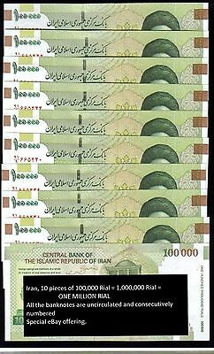 Iran 10 pieces of 100,000 Rial =1,000,000 Rial UNC ND(2010) Khomeini, 1 million
