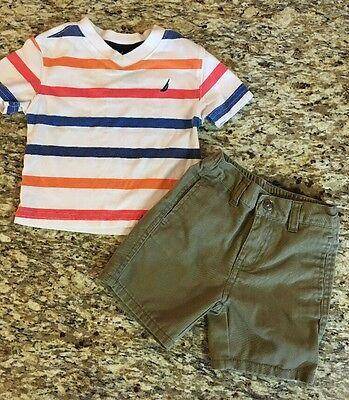 12 Months Nautica Baby Boy's 2-Piece Striped Shirt Shorts Outfit Summer