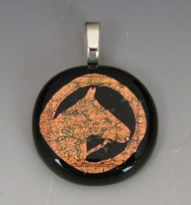 Salmon color Horse Head Pendant Dichroic fused glass jewelry