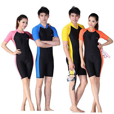 Floatsuit Diving Skin Short Sleeve Shorty Snorkeling Wetsuit Swimwear Men Women