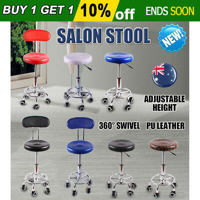 Salon Stool Chair Swivel PU Leather Round Hydraulic Lift Backrest Hairdressing