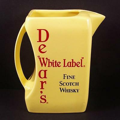 Dewars White Label Scotch Whisky Pub Water Jug Pitcher Wade RARE Square Yellow