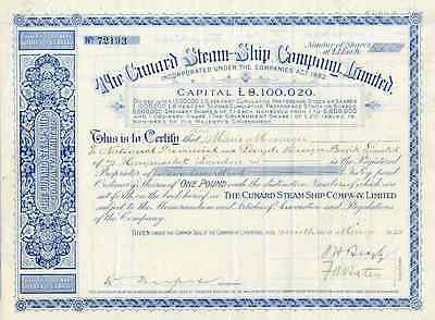 1928 Cunard Steam-Ship Company Limited Stock Certificate