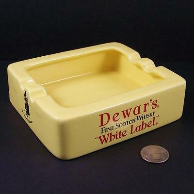 Dewars White Label Fine Scotch Whisky Ashtray by Wade RARE Square Yellow Ceramic