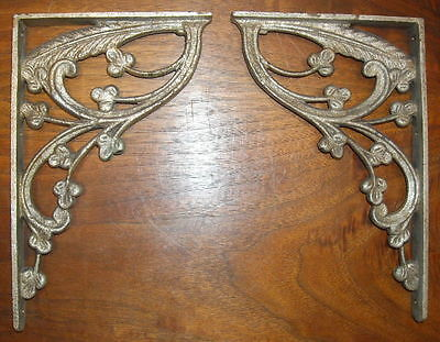 PR antique 1920s 30s ITALIAN DECO NOUVEAU BRONZE silver finish SHELF BRACKETS 2