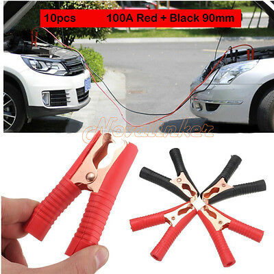 10pcs 100A Car Auto Battery Clips Crocodile Alligator Test Clamps Red+Black 90mm