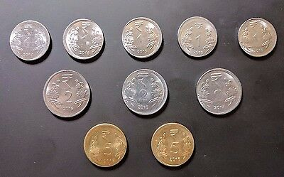 LOT OF 10 OFF CENTER ERROR COINS FROM INDIA - IN 1, 2 and 5 RUPEES