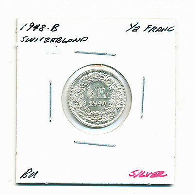 1948-B Switzerland, Uncirculated, 1/2 Franc Coin, Km#23 - Silver