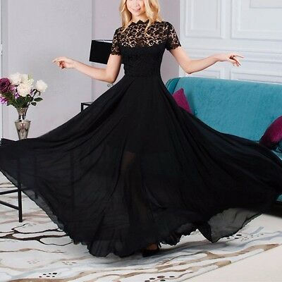 Women's Lace Floral Dress Evening Party Ball Prom Gown Formal Long Maxi Dress US
