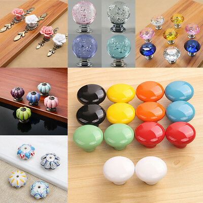 Ceramic Door Round Handles 7 Colors Kitchen Cabinet Cupboard Wardrobe Pull Knobs