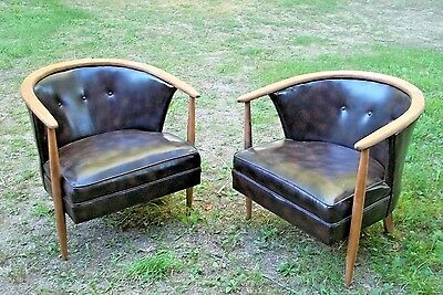 Pair Of Mid Century Modern Barrel Back Horseshoe Armchairs