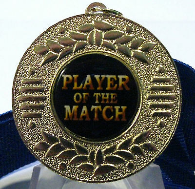 """Player of the Match"" Bright Gold 50mm Medal Engraved / Ribbon FREE"