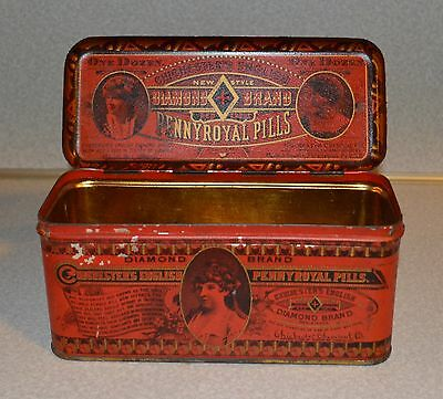 Old Antique Pennyroyal Pill Advertising Metal Tin Can Box