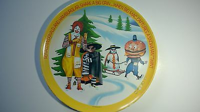 "Vintage 1977 McDonalds 10"" Plastic Plate Collectible Dish Winter Ronald"