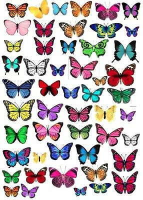 50 x Mixed Edible Butterfly Cake or Cupcake Toppers Decorations Wafer Rice Paper