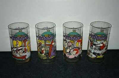 Set of 4 Vintage Flintstones Drinking Glasses ☆ 1991 ☆ Hardee's Hanna Barbera
