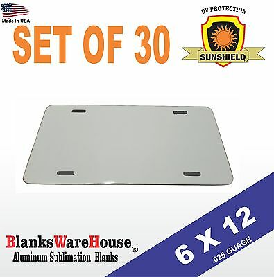 "30 Pieces ALUMINUM LICENSE PLATE SUBLIMATION BLANKS 6""x12"" / NEW BEST QUALITY"