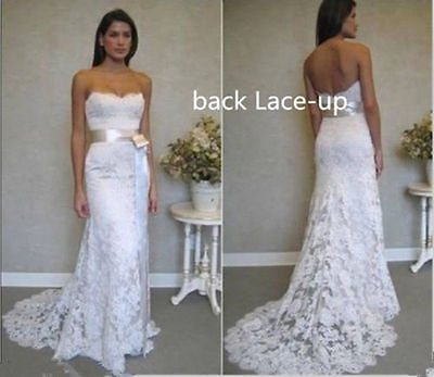 Stock New White/Ivory mermaid Lace Wedding Dress Bridal ball Gown Size 6-16