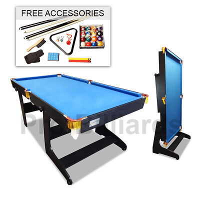 6FT Foldable Billiard Snooker Pool Table Free Metro Delivery Blue Felt for Kids