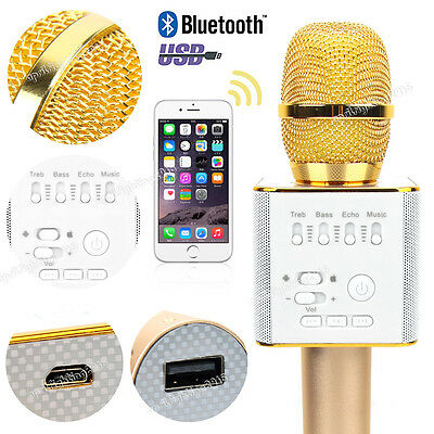 Gold Q9 Wireless Bluetooth Karaoke Microphone Speaker Handheld KTV USB Player AU