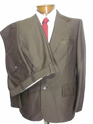 Vtg Mens Curlee 2 pc Suit 2 Button 42R Brown Polyester 36W 28L Flat front Pants