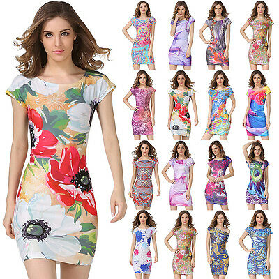 Fashion Women Casual Short Sleeve Casual Evening Party Cocktail Short Mini Dress