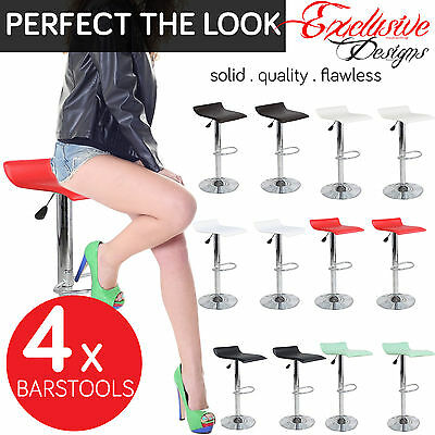 Set of 4 Bar Stools Chrome Faux Leather Kitchen Pub Barstool Breakfast Bar Chair
