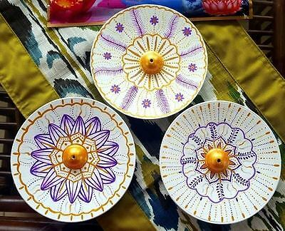 Gorgeous Incense Holder Metal Handpainted 15Cm With Incense