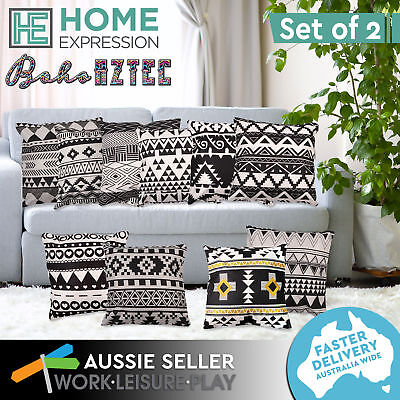 New 2x Cushion Monochrome Cotton Pillow Insert & Cover Case 45x45cm Home Decor