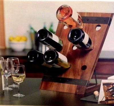 9 Bottle Acacia Wine Rack Wooden Storage Cellar Organiser Stand