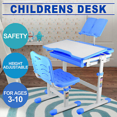 Ergonomic Kids Desk Chair Height Adjustable Children Study Table FREE Bookstand