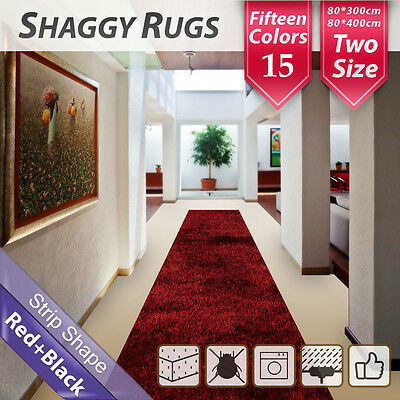 80x400cm Red Black Hallway Shag Shaggy Floor Confetti Rug Carpet Mat Runners