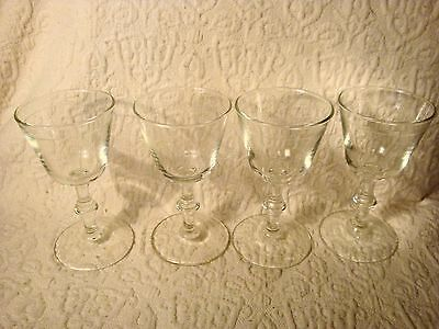 4 Vintage Etched Wine/Cordial Sherry Crystal Glasses