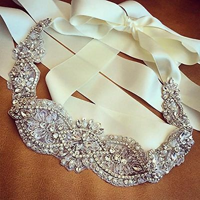 Wedding Bridal Sash Belt, Crystal Pearl Formal Wedding Dress Waist Belt Handmade