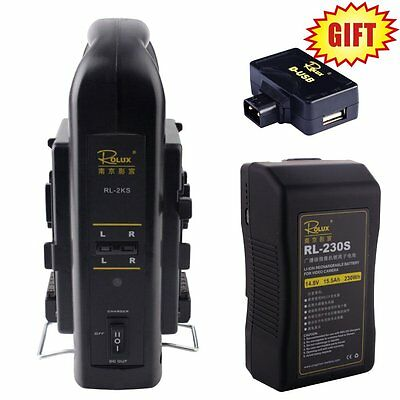 2PCS Rolux RL-230S 230Wh Sony V-mount Li-ion Battery + RL-2KS 2-Channel Charger