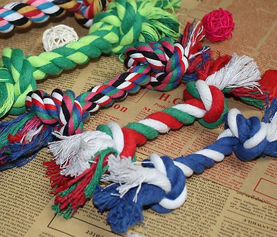 2 X Chew Toy with Knot Fun Tough Strong Puppy Dog Pet Tug War Play Cotton Rope