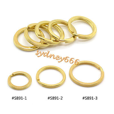 5 Pcs Solid Brass Flat Split Ring Key Chain Key Ring Tool Accessories New Golden