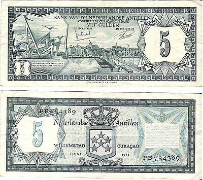 NETHERLANDS ANTILLES 5 Gulden (01.06.1972) P-8b, Very Fine *RARE*