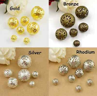 4mm 6mm 8mm 10mm Gold/Silver Plated Metal Filigree Spacer Loose Beads Free Ship