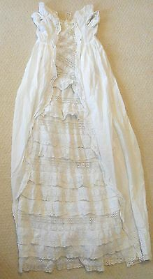 "Antique Vintage Handmade Christening Baptismal Gown Dress, 40"" Long, Lace Ivory"