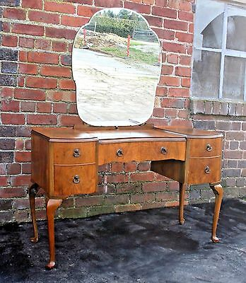 Quality Art Deco walnut dressing table and stool 1950s