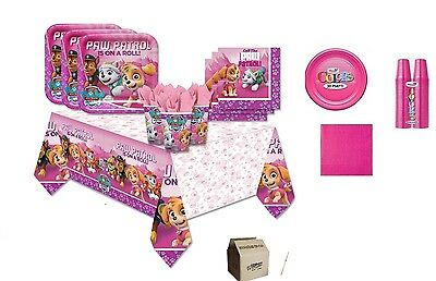 Kit N.7 Compleanno Bambina Paw Patrol Girl Rosa + Monocolore Fucsia Festa Party