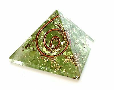 Reiki Energy Charged Peridot Crystal Orgone Pyramid Powerful Energy Generator