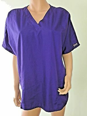 CHEROKEE WORKWEAR Solid Purple Cotton Short Sleeve V-Neck Scrub Top Sz XL