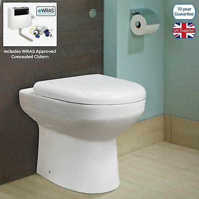Milan Back To Wall Square Toilet Soft Close Seat Bathroom White Ceramic