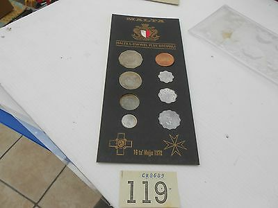 MALTA 1972 8 COIN UNCIRCULATED SET - official pack lot 119
