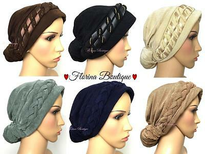 💗Fashionable Turban hats Hijab, pretty bonnet cap plain chemo muslim women 💗