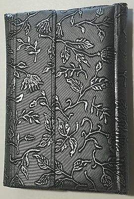 Vintage Vinyl Address Book ID Holder Note Pad Wallet All in 1 Silver Floral New