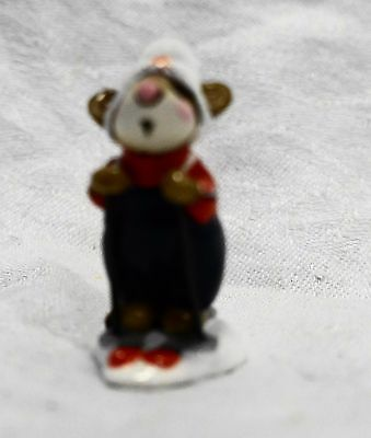 Wee Forest Folk Skier Mouse Red White Blue Annette Petersen White Pompom